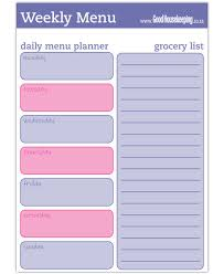 free menu planner free printable meal planners good housekeeping