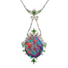 a la vieille russie antique black opal pendant