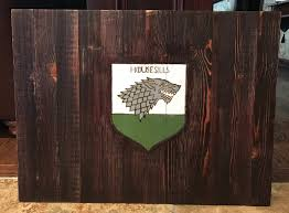 Game Of Thrones Stark House Crest Wooden Plaque Game of Thrones Stark House Direwolf Sigil Sign Wall Decor Wood 44