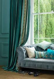 ... Living Room, Living Room Drapes Blue Sofa And Blue Curtain And Cushion  And Wooden Floor ...