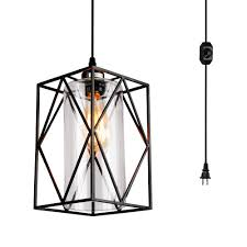 hmvpl swag lights with 16 4 ft plug in cord and on off dimmer switch new transitional hanging pendant lamps with linen lampshade for dining room bed room
