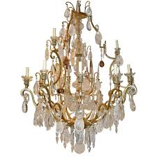 large neoclassic rock crystal chandelier for