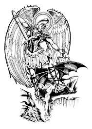 Archangel Michael Defeating Lucifer Tattoo Design 7 тыс изображений