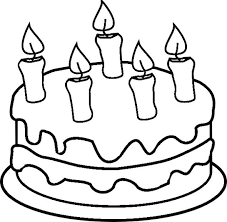 Small Picture Birthday Cake with Candles Coloring Book Page Coloring Pages