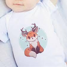 Super Cute Fox Cartoon Bodysuit <b>Infant 0 24M Summer</b> Baby ...