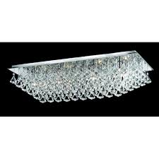 parma large rectangular 8 light flush fitting with polished chrome finish and crystal detail