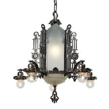 art deco chandelier with glass panels antique lighting
