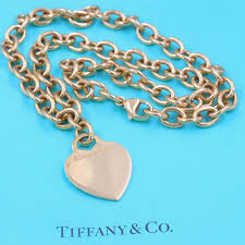 tiffany and co 18 yellow karat gold heart tag and circle link chain necklace for at 1stdibs