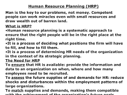 hr planning recruitment selection human resource planning hrp <ul><li>man is the key