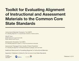 Common Core State Standards Vertical Alignment Charts Math Toolkit For Evaluating The Alignment Of Instructional And