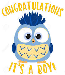 Congratulations It S A Boy Colorful Poster Cute Baby Boy Owl