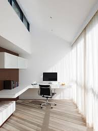 White Minimalist Home Office Design With Floating Desk Imac And Nice Chair