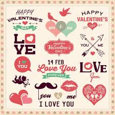 valentine s day typography labels and icons elements collection stock vector