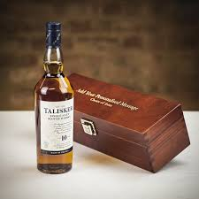 talisker single malt scotch whisky in personalised premium wood gift box limited stock