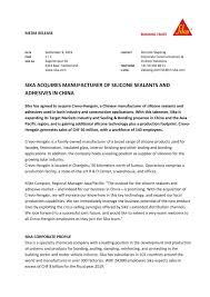 Sika Acquires Manufacturer Of Silicone Sealants And