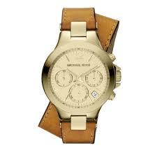 michael kors las peyton double wrap luggage leather watch