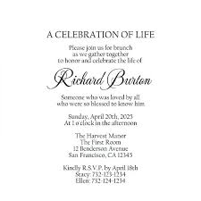 Memorial Service Invitation Template Mesmerizing Printable Rustic Wedding Invitation Celebration Of Life Template