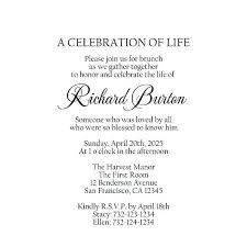 Memorial Service Invitation Template Mesmerizing Printable Rustic Wedding Invitation Celebration Of Life Template