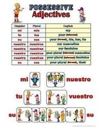 Spanish Possessive Adjectives Grammar Notes Spanish