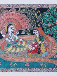 Mithila Painting Bed Sheet Design Buy Madhubani Mithila Painting Of Lord Vishnu In Matsya