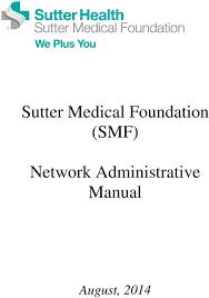 Sutter Medical Foundation Smf Network Administrative