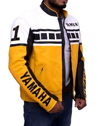 yamaha vintage bike riding yellow leather jacket 2
