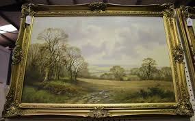 Wendy Reeves - Landscape with Pheasants and Landscape with Sheep, a pair of  20th century oils on can