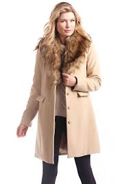 camel faux wool knee length coat with faux fur collar 1