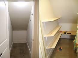 closet under stairs shelving
