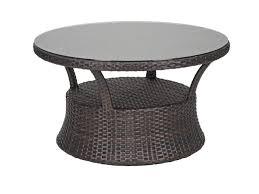 san lucas 42 round aluminum woven resin wicker glass top conversation table