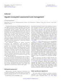 aquatic ecosystem assessment and management annales de we recommend