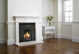 stovax decorative arched insert fireplace with pembroke wood mantel matt black