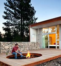 can you put fire pit on wood deck fire pit embedded in deck design idea building