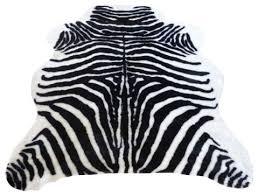 super plush black white faux zebra hide rug 4 10x6 8 large