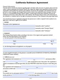 Sublease Form Subletter Agreement Free California Sub Lease Pdf Word Doc