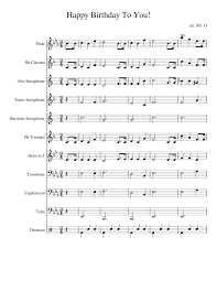 Happy Birthday To You Sheet Music For Flute Clarinet Alto