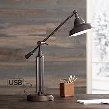 Lamps for office Adjustable Bronze Turnbuckle Led Desk Lamp With Usb Port Lamps Plus Office Desk Lamps Lamps Plus