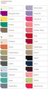 Watters Size Chart Dupioni Silk Color Chart French Novelty