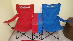 rare bud light budweiser folding lawn beach chair built in cooler double wide