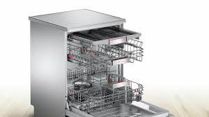 Bosch Dishwasher With Interior Light Serie 8 Free Standing Dishwasher 60 Cm Silver Inox Sms88ti30m
