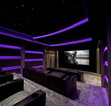 home theater ceiling lighting. Basement Home Theater Reference Ideas For Contemporary With Projector Screen, Star Ceiling And Purple LED Lights Lighting E