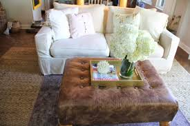 Furniture:Small White Tufted Ottoman Coffee Table With Slim Stools Mix The  Modern Beige Sofa