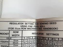 Sowing Chart Massey Ferguson 30 Drill Sowing Chart 1655 999 M1 15 00