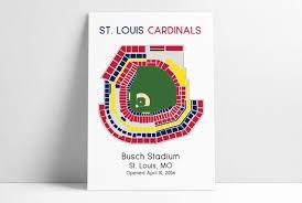 St Louis Cardinals Busch Stadium Mlb Stadium Map Ballpark Map Baseball Stadium Map Gift For Him Stadium Seating Chart Man Cave