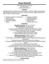 ... Warehouse Worker Resume Sample 10 Example Resume Warehouse Worker  Objective Forklift Driver ...
