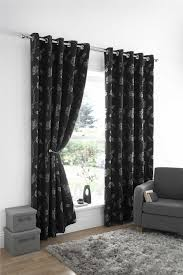 stylish trendy ringtop eyelet lined flower leaf pattern curtains black silver colour