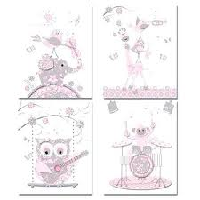 artwork for baby girl nursery room owls pink grey music art wall decor toddler canvas on toddler canvas wall art with baby nursery artwork for baby girl nursery room owls pink grey