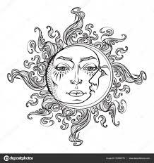 солнце луна тату сказочный стиль ручной обращается солнце и луна с