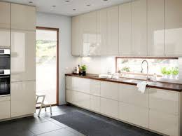ikea modern kitchen. A Medium Size Kitchen With Light Beige High-gloss Doors And Drawers Combined Ikea Modern T