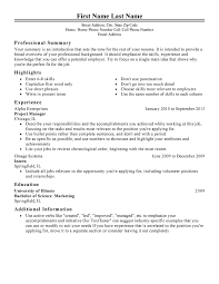 Management: Resume Template